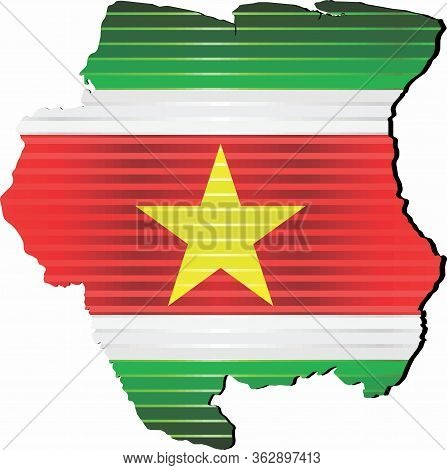 Shiny Grunge Map Of The Suriname - Illustration,  Three Dimensional Map Of Suriname