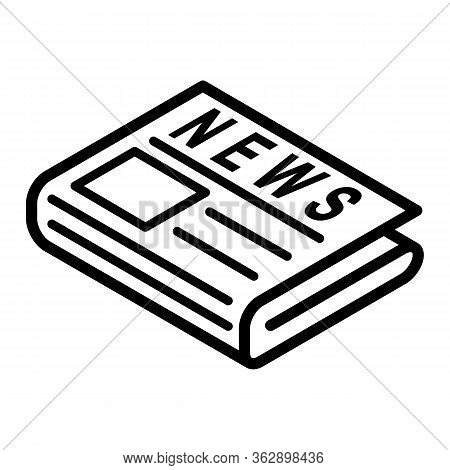 Flat Black Newspaper Vector Line Icon. News Symbol, Logo Illustration