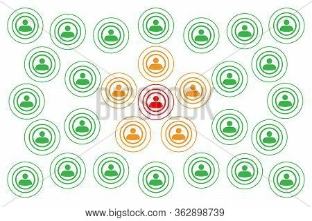 Crowd With People Silhouette Symbols Concept With Covid-19 Contact Tracing System With Red, Orange A