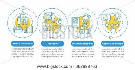 Corporate Event Management Vector Infographic Template. Seminars Conferences, Incentive Programs, Ap