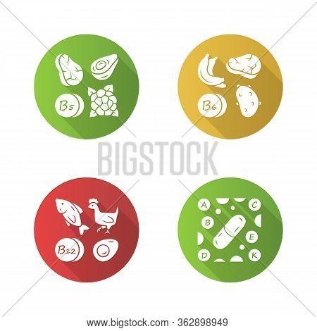 Vitamins Flat Design Long Shadow Glyph Icons Set. B5, B6, B12 Natural Food Source. Vitamin Pills. Fr