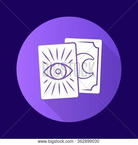 Tarot Cards Purple Flat Design Long Shadow Glyph Icon. Tarocchi, Tarock, Oracle Cards. Fortune Telli