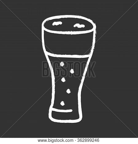 Light Beer Glass With Froth Chalk Icon. Traditional Alcohol Beverage, Foamy Ale, Lager Pint Isolated