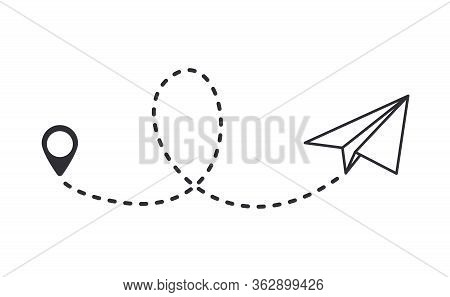 Paper Plane With Dotted Trail  Line. Traveler Tracks Marked With Dotted Lines. Airplane Tracking On