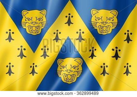 Shropshire County Flag, United Kingdom Waving Banner Collection. 3d Illustration