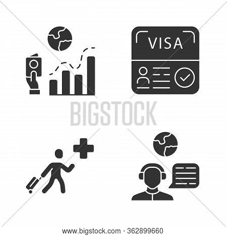 Immigration Glyph Icons Set. Migration Rate, Visa. Humanitarian Immigrant, Travel Consultant. Trip A