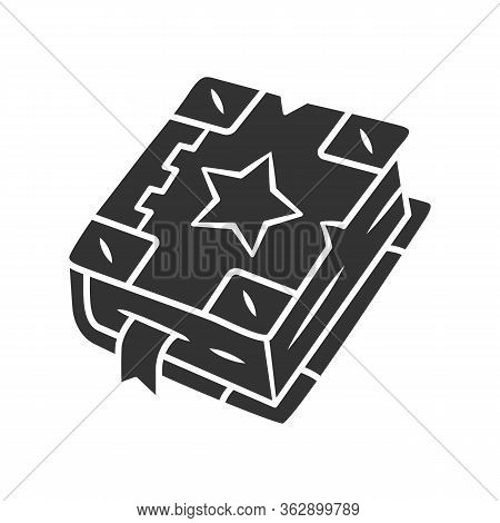 Spell Book Glyph Icon. Silhouette Symbol. Negative Space. Black Magic Old Spellbook. Witchcraft Sorc