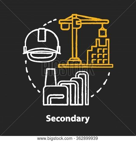 Secondary Chalk Concept Icon. Processing And Manufacturing Industry Idea. Economy Sector. Manufactur