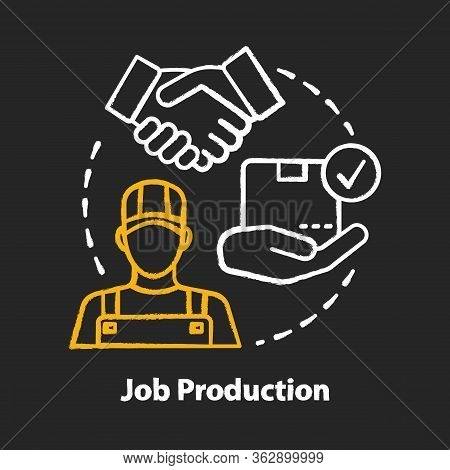 Job Production Chalk Concept Icon. Jobbing And One-off Production Idea. Custom Work Producing. Manuf