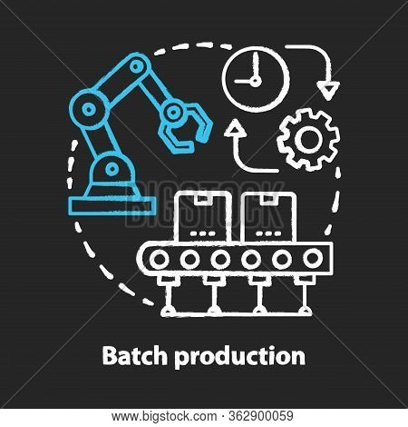 Batch Production Chalk Concept Icon. Manufacturing Method Idea. Continuous, Mass Production Process.