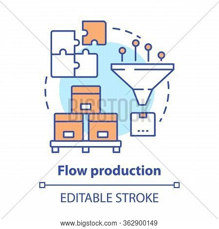 Flow Production Concept Icon. Continuous-flow Manufacturing Idea Thin Line Illustration. Production
