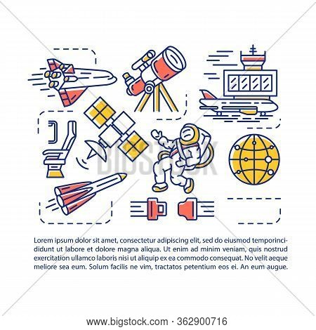 Aerospace Industry Article Page Vector Template. Spacecraft Aviation. Brochure, Magazine, Booklet De