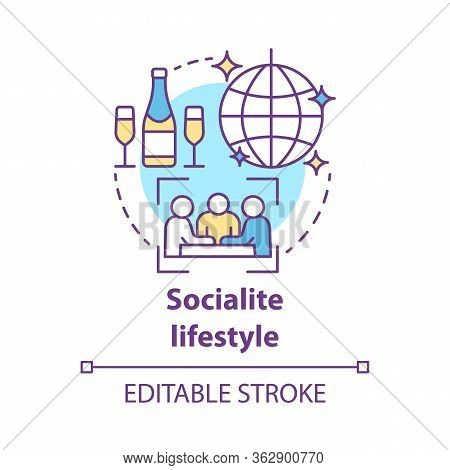 Socialite Lifestyle Concept Icon. Fashionable Social Gathering Attending Idea Thin Line Illustration