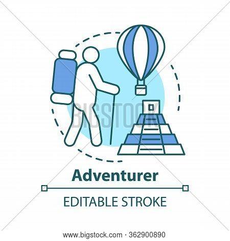 Adventurer Concept Icon. Adventurous Lifestyle Idea Thin Line Illustration. Traveling, Mountain Clim