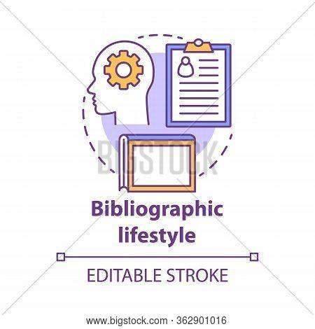 Bibliographic Lifestyle Concept Icon. Information Professional Idea Thin Line Illustration. Collecti