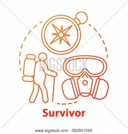 Survivor Red Concept Icon. Remaining Alive Idea Thin Line Illustration. Hiking Camp. Travelling In E