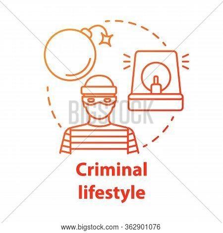 Criminal Lifestyle Red Concept Icon. Committing Crime Idea Thin Line Illustration. Terrorist With Bo
