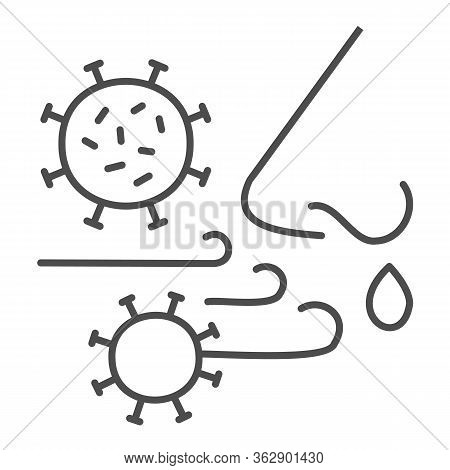 Airborne Virus Spread Thin Line Icon. Person Breath Virus Bacteria Outline Style Pictogram On White