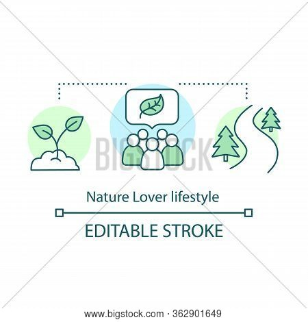 Nature Lover Lifestyle Concept Icon. Environment Protection And Preservation Idea Thin Line Illustra