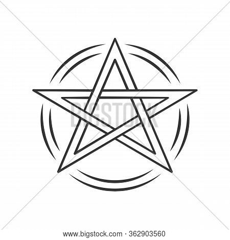 Pentagram Linear Icon. Thin Line Illustration. Occult Ritual Pentacle. Devil Star. Satanic Cult, Wic