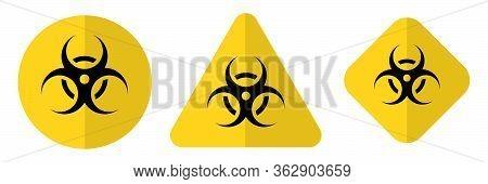 Biohazard Or Biological Threat Alert Icon. Warning Sign Of Virus. Danger Coronavirus Bio Hazard Symb