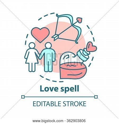 Love Spell Concept Icon. Witchcraft And Alchemy Idea Thin Line Illustration. Philtre, Romantic Elixi