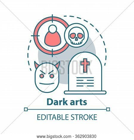 Dark Arts Concept Icon. Occultism And Witchcraft Idea Thin Line Illustration. Black Magic, Necromanc