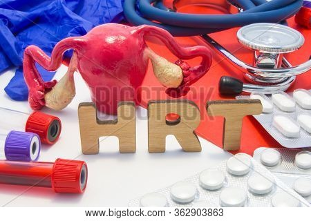 Hrt Medical Abbreviation Of Hormone Replacement Therapy Concept Photo, Hormones Supplements That Wom