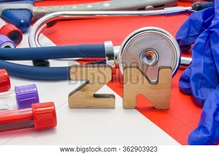 Zn Medical Abbreviation Meaning Total Zinc In Body Or Blood In Laboratory Diagnostics On Red Backgro