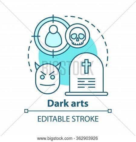 Dark Arts Concept Icon. Occultism And Witchcraft Idea Thin Line Illustration. Black Magic, Evil Spel
