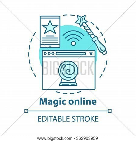 Magic Online Concept Icon. Modern Sorcery Idea Thin Line Illustration. Internet Esoterics, Fortune T