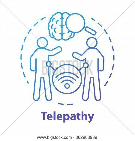 Telepathy Concept Icon. Mind Reading, Thought Transference Idea Thin Line Illustration. Supernatural