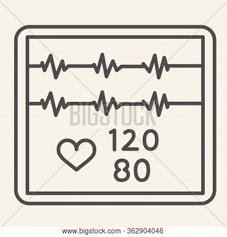 Cardiogram Thin Line Icon. Pulse Monitoring On Screen Outline Style Pictogram On White Background. M
