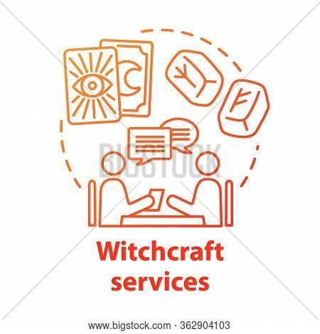 Witchcraft Services Concept Icon. Fortune Telling And Divination Idea Thin Line Illustration. Future