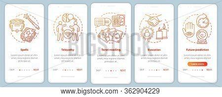 Magic Services Onboarding Mobile App Page Screen Vector Template. Telepathy, Tarot Reading Walkthrou