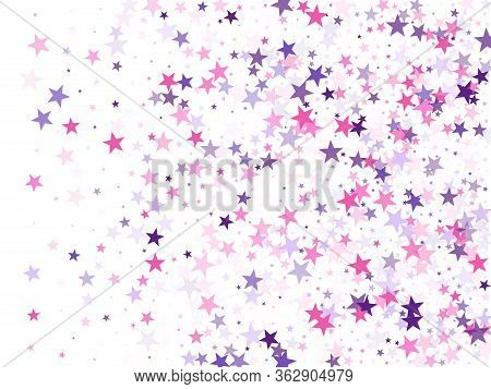 Flying Stars Confetti Holiday Vector In Pink Violet Purple On White. Twinkle Starburst Astral Wallpa