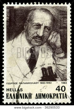 A stamp shows medical researcher Georgios Papanikolaou