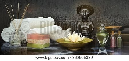 Spa Concept: Composition Of Spa Treatment With Natural  Aromatic Oil, Chocolate,  Spa  Stone  On Woo