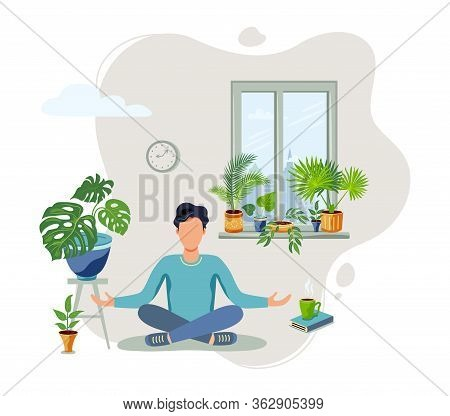 Person Is Sitting In A Meditative Pose At Green Home Near The Window. Home Gardening, Urban Jungle,