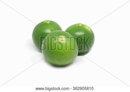 Fresh Green Lime Fruit Isolated On White Background, Green Lime Is An Important Ingredient Of Food I