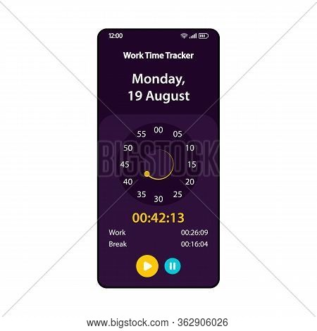 Work Hours Tracking Smartphone Interface Vector Template. Mobile Time Tracker App Page Black Design.