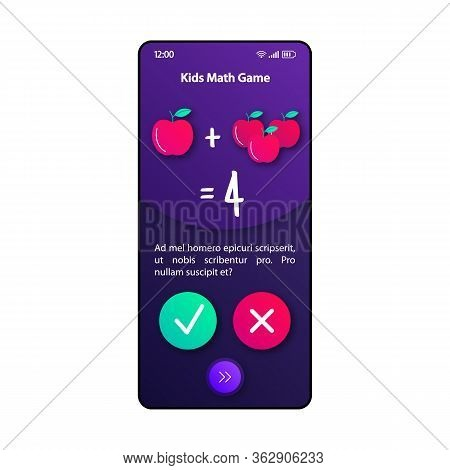 Maths For Kids Smartphone Interface Vector Template. Mobile App Page Violet Design Layout. Teaching