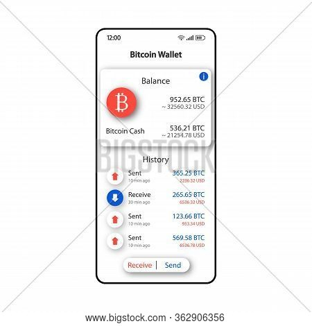Bitcoin Wallet Smartphone Interface Vector Template. Mobile App Page White Design Layout. Cryptocurr