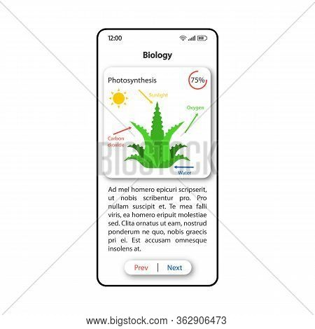 Teaching Biology Smartphone Interface Vector Template. Mobile App Page White Design Layout. Plant Ph