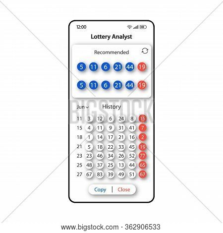 Lottery Analyst Smartphone Interface Vector Template. Mobile App Page White Design Layout. Recommend