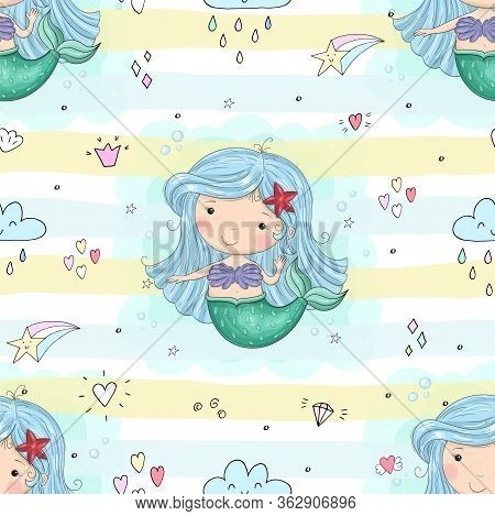 Seamless Pattern With Hand Drawn Vector Little Mermaid. Cute Hand Drawn With Cute Little Mermaid Vec