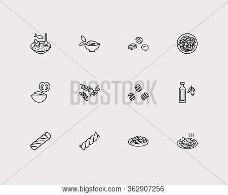 Italian Food Icons Set. Tortiglioni Pasta Shape And Italian Food Icons With Riccioli Pasta Shape, Br