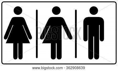 All Gender Restroom Sign. Male, Female Transgender. Vector Illustration. Black Symbols Isolated On W