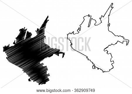 Larissa City (hellenic Republic, Greece, Hellas, Thessaly) Map Vector Illustration, Scribble Sketch