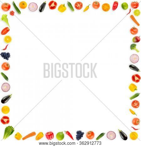 Square frame ripe fresh vegetables and fruits isolated on white background. Copy space